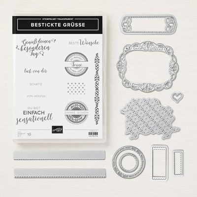 Produktpaket Bestickte Grüsse (Für Transparente Blöcke)
