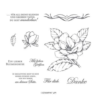 Stempelset Ablösbar Magnoliengruss (De)