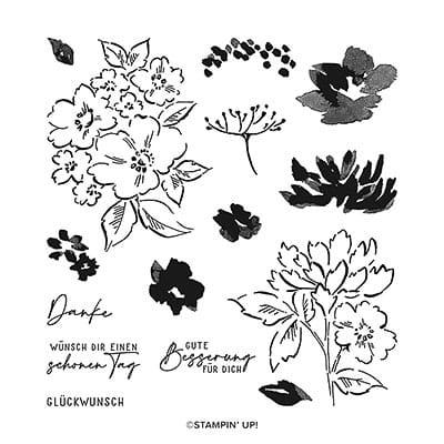 Stempelset Klarsicht Handgemalte Blüten (Deutsch)